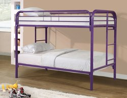 PURPLE TWIN OVER TWIN BUNK BED W/MATTRESS