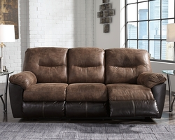 BROWN 2TONE RECLINING SOFA ONLY