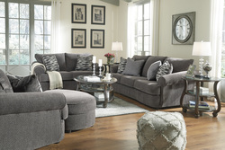 GRAY SOFA & CHAIR 1/2 W/ACCENT PILLOW