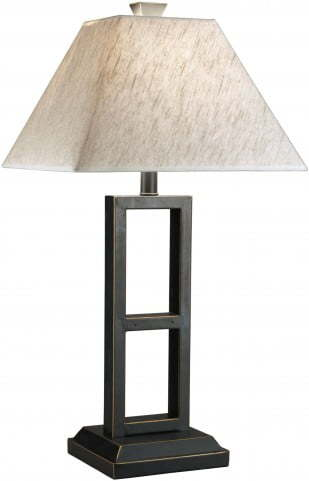 ASHLEY-LAMP BLACK METAL SQUARES W/GOLD ACCENT