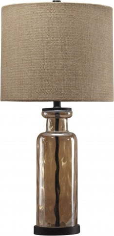 ASHLEY-CHAMPAGNE COLORED GLASS LAMPS W/BRONZE METAL BASE