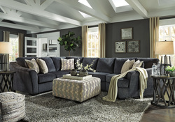 ASHLEY- DARK BLUE SECTIONAL W/CUDDLER & ACCENT OTTOMAN