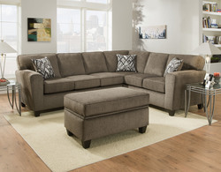AMERICAN FURNITURE - PEWTER CORNER SECTIONAL W/3 BLK/WHT PILLOWS