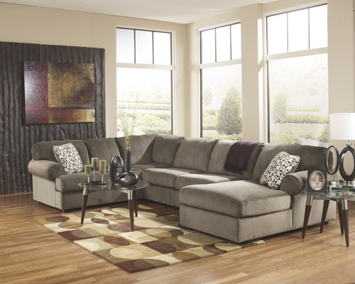ASHLEY - BEIGE 3PC SECTIONAL NON MOTION W/CHAISE