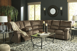 ASHLEY - MOCHA RECLINING SECTIONAL