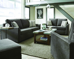 OFF CHARCOAL SOFA AND LOVE W/4 ACCENT PILLOWS