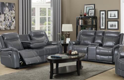 Strange Amalfi Grey Bonded Leather Reclining Sofa W Drop Dwn Tray Dailytribune Chair Design For Home Dailytribuneorg