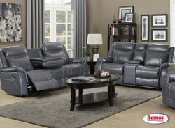 AMALFI-GREY BONDED LEATHER RECLINING LOVE W/CONSOLE