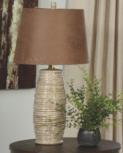 ASHLEY-BEIGE COILED ROPE TEXTURED CERAMIC LAMPS