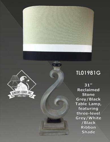 JENKINS-PACIFIC SWIRL LAMP W/GRAY SHADE