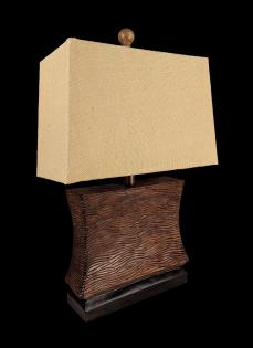 JENKINS-HOURGLASS WAVE LAMP W/BURLAP SHADE