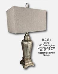 JENKINS-SILVER LAMP W/BELL SHADE