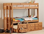 SIMPLY BUNK BED - T/T/T TRIPLE WOOD BUNK WITH STORAGE