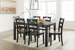 ASHLEY - 7PC DINETTE W/6 CHAIRS COTTAGE BLACK & GRAY