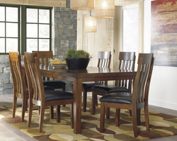 ASHLEY - MED BROWN DINING TABLE W/BUTTERFLY LEAF & 6 CHAIRS