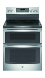 G.E. - STAINLESS STEEL DOUBLE OVEN 5 BURNER W/ONE WARMER