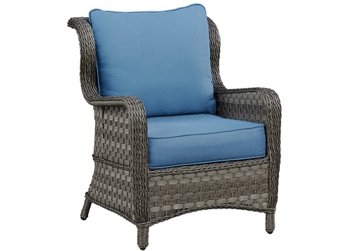 WICKER CHAIRS W/BLUE CUSHIONS BY ASHLEY