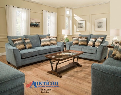 PERTH TEAL SOFA & CHAIR 1/2 BY AMERICAN FURNITURE