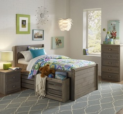 TWIN CAPTAINS BED W/ DRAWERS